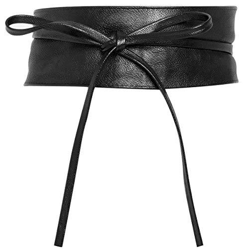 Charmoni - OBI - Ceinture large bande cuir synthétique à nouer autour de la taille - TU taille unique (noir)