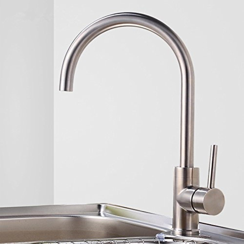 SHLONG Edelstahl Küchenarmatur Küchenarmatur heien und kalten einzigen rotierenden Spüle Wasserhahn gebürstetem Wasserhahn