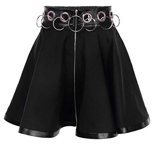 Sylar Faldas Mujer Cortas 2019 Moda Faldas Plisadas para Mujer Falda Punk Fiesta Gótica Negra Ahuecar Mini Fedal con Cremallera
