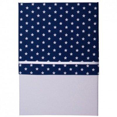 LITTLE DUTCH 0311 Bettlaken für Wiege blau mit weißen Sternen Gr. 70x100 cm