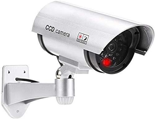 Cámara falsa con objetivo de videovigilancia, cámara de seguridad falsa con luz LED roja, engañosamente real para pared o techo plateado