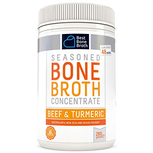 BONE BROTH CONCENTRATE Premium Beef Bone Broth Concentrate Turmeric Flavor - Maximized Nutrition Bone Broth On The Go - No Hormones or Additives, Delicious Natural Flavor, Sourced From AU & NZ Beef