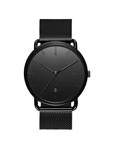 Meller Unisex Erwachsene Analog Quarz Uhr mit Edelstahl Armband 3N-2BLACK