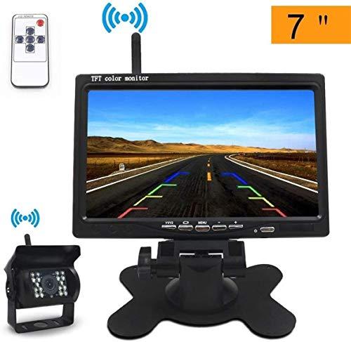 """Wireless Backup Kamera-Kit 12V/24V Rückfahrkamera drahtlos IP67 Wasserdicht IR Nachtsicht Rückseite Funk Back Up Auto Kamera Kit + 7\"""" TFT LCD Monitor Einparkhilfe"""
