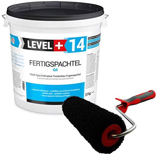 Glätt-Set Fertigspachtel 20kg Finish Feinputz Weiß + Profi Glättwalze 230mm Gipsspachtel Flächenspachtel Fein Spachtel SET209