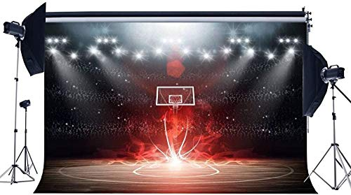 NEW Vinyl 7X5FT Basketball Court Backdrop Stadium Crowd Bokeh Glitter Stage Lights Shabby Wood Floor Interior 3D Photography Background for Boys Sports Match School Game Photo Studio Props 448