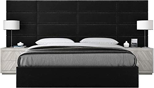 VANT Upholstered Headboards-Accent Wall Panels-100% Microfiber-Packs of 4-Easy to Install-Single & Double bed Size, Plush Velvet Black, 76cm WIDE