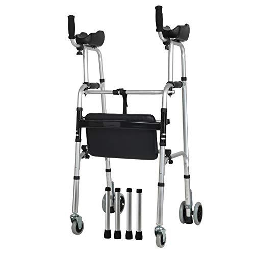 Chunlan Leichter 4.2kg Faltbarer Rollator Walker Aid 4 Beine Gehstock Höhenverstellbar Steh-WC-Rahmen für Erwachsene Senioren Disable