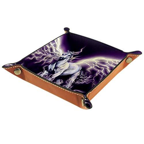 Bennigiry Valet Tray Img_1 Bedrucktes Leder-Schmucktablett Organizer Box für Geldbörse, Uhren, Schlüssel, Münzen, Handys und Bürogeräte, Multi, 16 x 16 cm