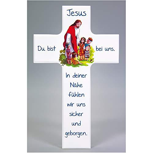 FRITZ COX® - Kinderkreuz: 'Jesus Freund der Kinder' 20 cm, weiß - Gott hat uns seinen Sohn geschickt - ein freundliches & fröhliches Kinder-Wand-Kreuz