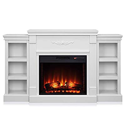 "BELLEZE 70"" Bookshelves Console Media Storage with 28"" 1400W Insert Electric Fireplace Heater, MDF And Metal, White, CSA Certification"