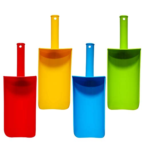 Holady Short Handle Sand Scoop Plastic Shovels for Sand & Beach (Yellow, Red,Blue & Green) Gift Set Bundle - 4 Pack