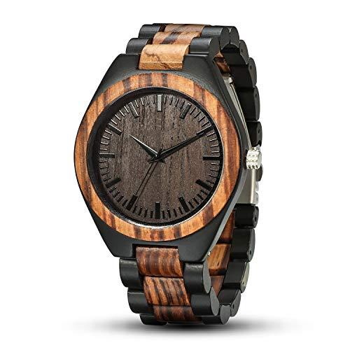 Holzuhr Herren, Shifenmei Minimalistisches Holzuhren für Herren Damen Japanisches Quarzwerk Design Handgefertigte Uhr mit Holz Armband inkl. Geschenkbox (A-Schwarz 02)