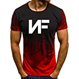 TOPS&105 Men's NF Rapper Logo Tshirt Apparel Casual Shirt 3D Printing Short Sleeve Round Neck Summer Sport T-Shirt Red