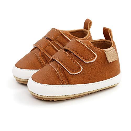 Zapatos Unisex Bebe Niño Niña Recién Nacido Primeros Pasos Zapatillas para Caminar para Bebé Suela Blanda Antideslizant (6-12 meses, marrón)