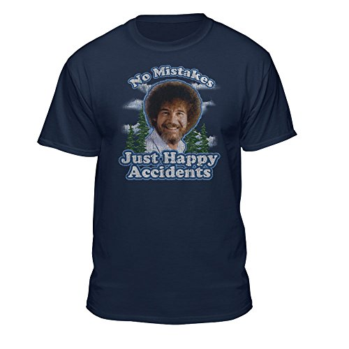 Bob Ross Graphic T-Shirt for Men and Women - No Mistakes, Just Happy Accidents - Short Sleeve (X-Large, Blue)