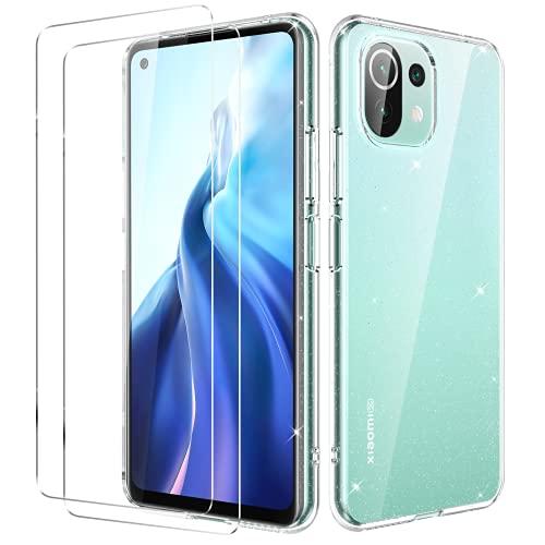 Oududianzi - Hülle für Xiaomi Mi 11 Lite + [2X Panzerglas Bildschirmschutzfolie] [Glitter Transparent Hülle] Superdünne Stoßfeste Silikon Schutzhülle - Transparent