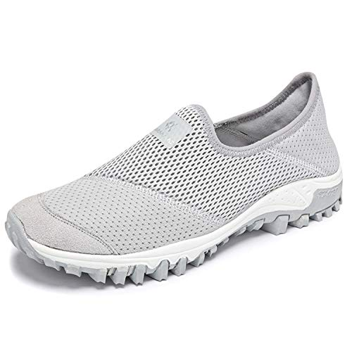 [Bornran] スニーカー レディース スリッポン ナースシューズ 婦人靴 カジュアルシューズ グレー 24.0cm2005灰色38