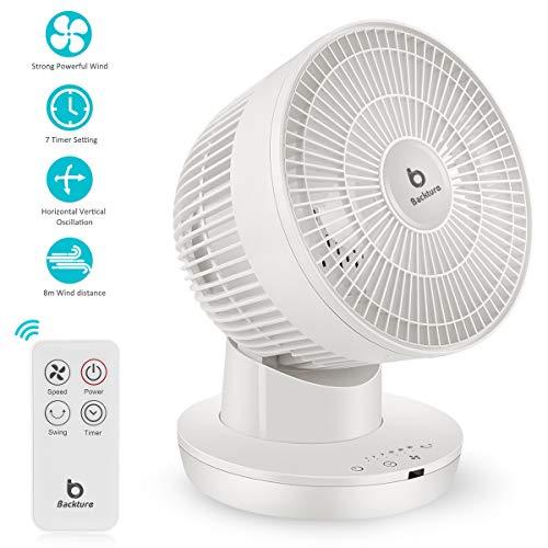 BACKTURE Ventilator, Leise Turbo Luftumwälzer, 3D Ventilator 8M Windentfernung, 70 ° Schüttelkopf, 7h Timer Tischventilator,6-Gang-Einstellung mit Fernbedienung Lüfter Luftzirkulator Raumventilator