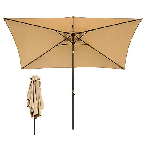 ZXL Sombrillas rectangulares Garden 5 Ribs Patio Umbrella with Crank Tilt Outdoor Sun Shade for Beach/Pool