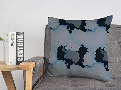LREFON 18' 2pcs Square Throw Pillowslip Unusual Camoflauge Clo Hide As Material Blue Style Camouflafe Motif Soft Skin-Friendly Pillowcase for Couch Sofa