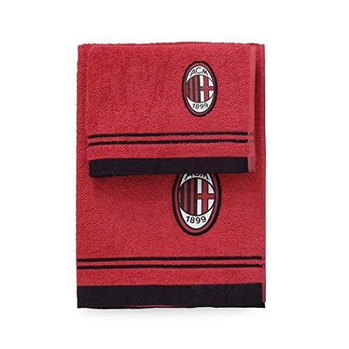 Milan 8907 020 2110 Set Asciugamano e Ospite in Spugna, 100% Cotone, Rosso/Nero, 100x60x1 cm
