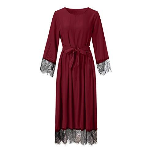 Lazzboy Damen Abaya Dubai Kaftan Marokkanisches Moslemkleid Türkisch Kimono Spitze Jilbab Maxi Lose Robe Casual Abendkleid Kleid Maxikleid Lange ärmel Muslime Strickjacke(Rot,L)