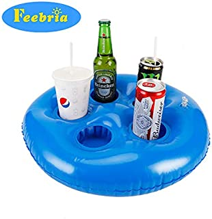 FEEBRIA Inflatable Blue Drink Holders for Pool, Hot Tub, Ocean & River, Cupholder Floaties to Float Your Beverages for Parties & Beach (Single)