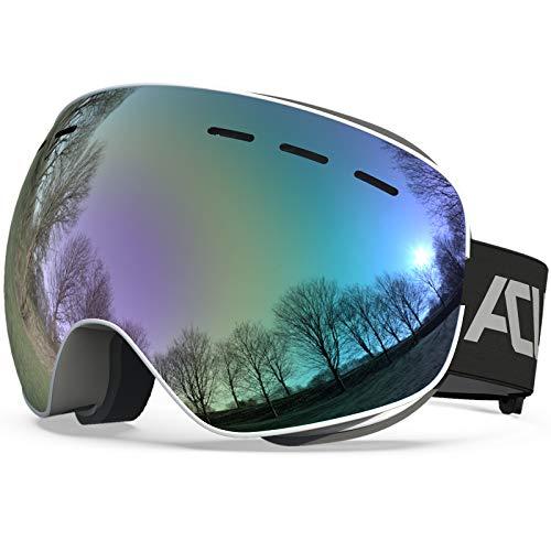 ACURE Gafas de esquí Gafas de Snowboard sin Marco OTG de Doble Lente con protección antivaho y UV400 para Hombres, Mujeres, Adultos y jóvenes (Dorado, M/L)