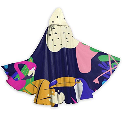 Amanda Walter Tucanes y flamencos Capa de Halloween Capa Elegante con Capucha con cordn Traje de Bruja Fresca para Adultos Capa de Fiesta Extra Larga CLK-019