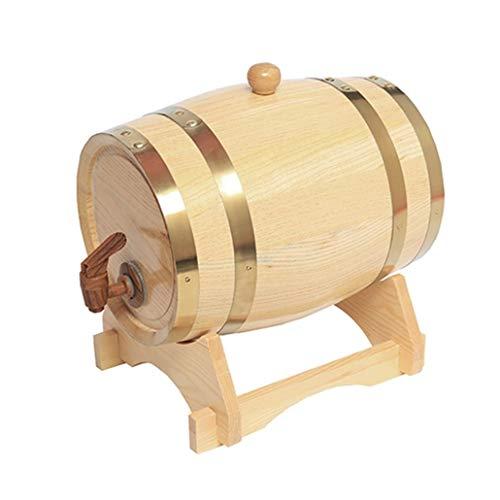 YANGUANG Barril de Vino de Madera Barril de Roble de 3L, Dispensador de Barril de Vino con Grifo para Decoración de Bodas O Almacenamiento de Vino de Cerveza (Color : Natural, Size : 3L)