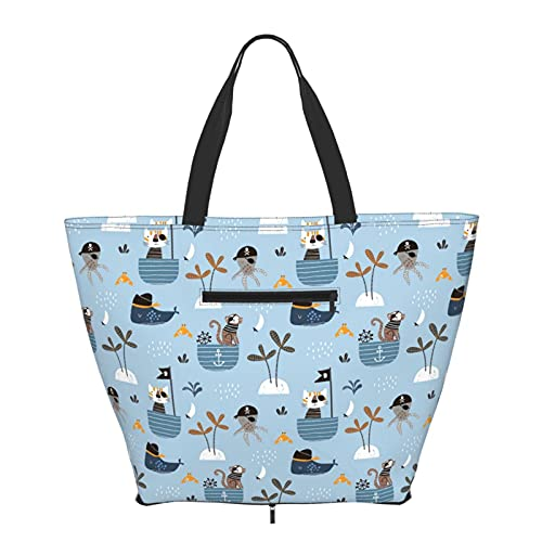 Women Handbags Large Tote bag Cat Monkey Octopus Pirate Big Capacity Handbags Trendy Gym Sports Beach Shoulder Tote Bag