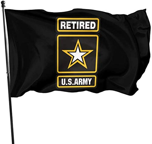 'N/A' US Army Star Retired Family Garden Decor Semitransparent Flag 3x5 Ft Fashion Pageant Flag