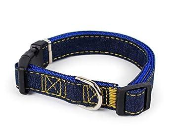 AMDXD Collier de Harnais Bleu Jean+Nylon Harnais Laisses Set pour Chien Colliers 2.5cm