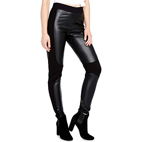 Rachel Roy Womens Simone Faux Leather Stretch Casual Leggings, Black, X-Large