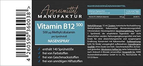 Vitamin B12 Nasenspray - hochdosiert 500µg Methylcobalamin - 7 Wochenbedarf - Neamin (R) - Vegan, alkoholfrei, ohne Zucker, geeignet für Schwangere, Kinder und Sportler