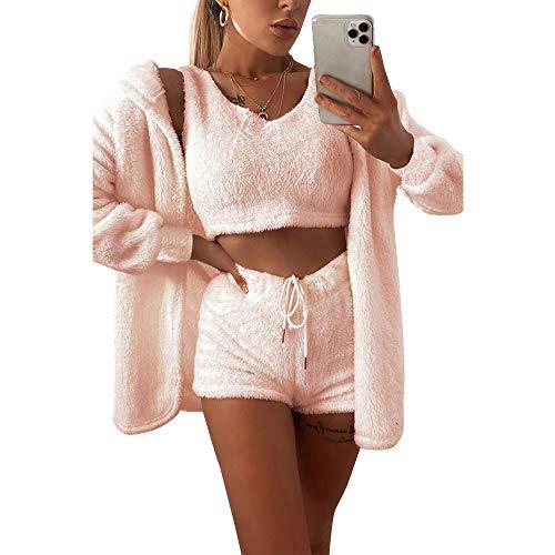 Damen-Fleece-Outfit, gemütlich, flauschig, Mantel, Jacke, Wollriemen, bauchfreies Top, Shorts, 3-teiliges Set Gr. L, rose