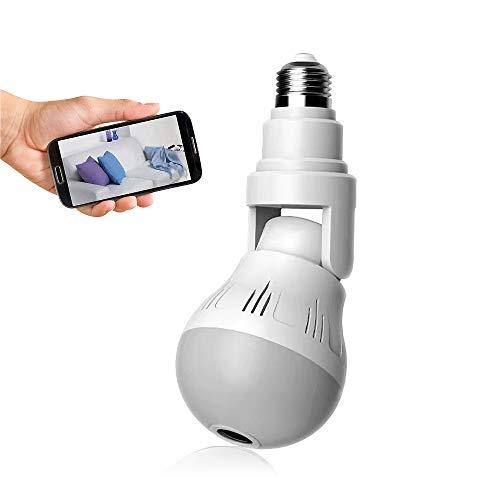 Cámara de seguridad con bombilla WiFi 1080P HD - Bombilla de cámara IP panorámica panorámica de 360 grados - Lámpara de cámara con luz LED de 2MP - Proyector remoto y visión nocturna por infrarrojos, detección de movimiento para iPhone / Android / Windows