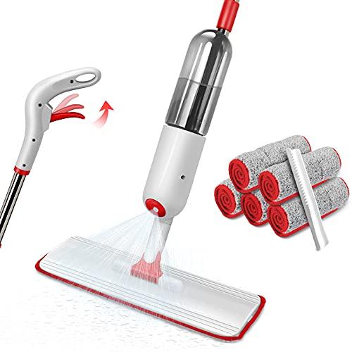 Masthome Spray Mop, Lavapavimenti a Spruzzo con 5 Panni in Microfibra e 500ml Flacone Ricaricabile, Adatto per Pavimenti in Legno, Laminato, Legno, Piastrelle