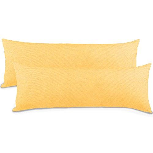 aqua-textil Classic Line Kissenbezug 2er-Set 40 x 145 cm Creme gelb Baumwolle Seitenschläferkissen Bezug Reißverschluss