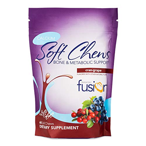 Bariatric Fusion 500mg Calcium Citrate & Energy Soft Chew Cran-Grape Flavor for Bariatric Surgery Patients Including Gastric Bypass and Sleeve Gastrectomy, 60 Count, Sugar Free, Made in The USA
