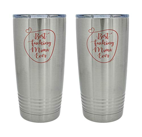 Mimi Gifts for Women Best F-cking Mimi Ever Mimi Grandma Gift 2-Pack 20oz. Stainless Steel Insulated Travel Mug With Lid Silver-Mimi