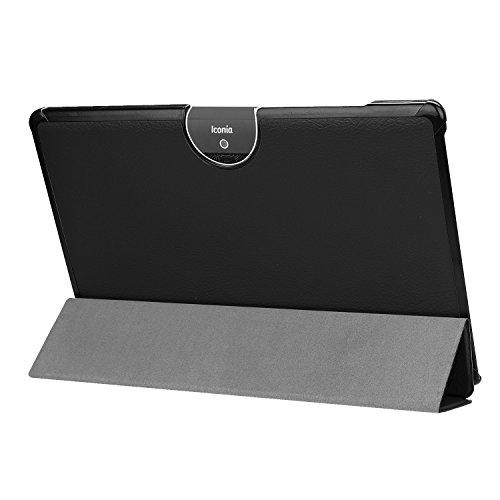 Kepuch Custer Hülle für Acer Iconia Tab 10 A3-A50,Smart PU-Leder Hüllen Schutzhülle Tasche Hülle Cover für Acer Iconia Tab 10 A3-A50 - Schwarz