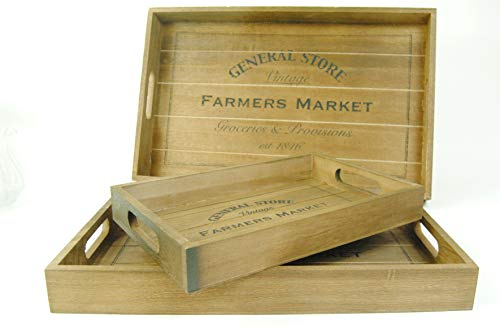 Kitchen Trays Rustic Wooden with General Store Farmer Market - Choice of Size Small Medium Large (Large)