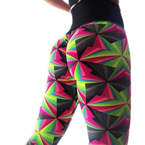 GJDHFJN Geometric Print Leggings Damen Nicht Transparent Fitness Slim Jeggings Sporting Pants Elastic Leggins, 01, L