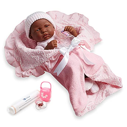 Soft Body La Newborn in Bunting and Accessories. African American.