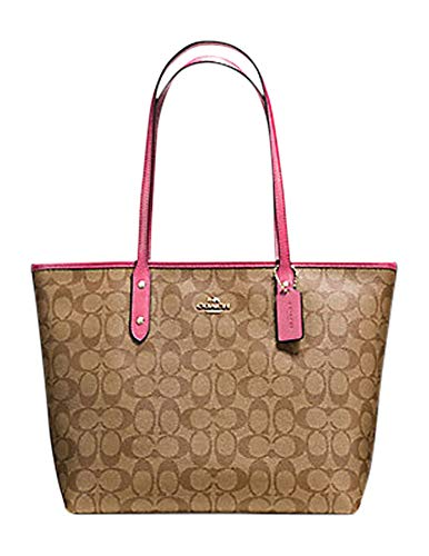 COACH CITY ZIP TOTE IN SIGNATURE CANVAS IN KHAKI/PINK RUBY/GOLD (F58292)