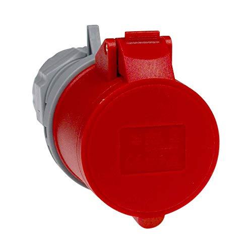 as - Schwabe CEE-Kupplung – 400 V / 16 A Kupplung mit Schraubanschlüssen – CEE-Adapter 5-polig / 6 h für den Außenbereich, Baustellen & Camping geeignet – IP44 – Grau/Rot I 60425