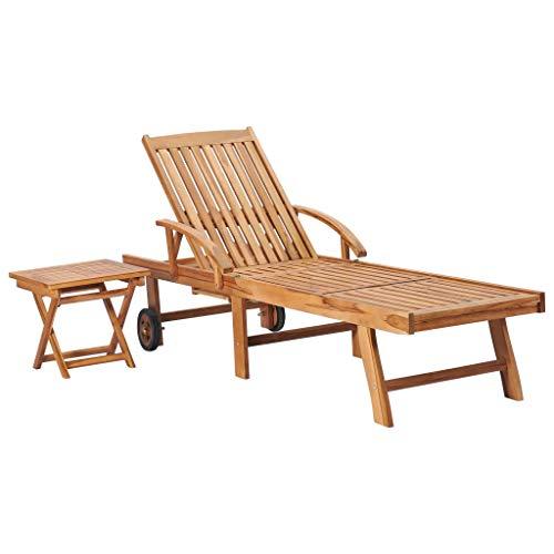 vidaXL Teak Massiv Sonnenliege mit ausziehbarem Tisch Beistelltisch Gartenliege Holzliege Liegestuhl Relaxliege Strandliege Liege Gartenmöbel