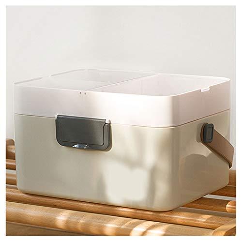 Botiquin Caja Caja de almacenamiento de la medicina, Botiquín de primeros auxilios de la familia, caja de la medicina de gran capacidad, de múltiples funciones, con compartimientos, portátil (gris) Bo